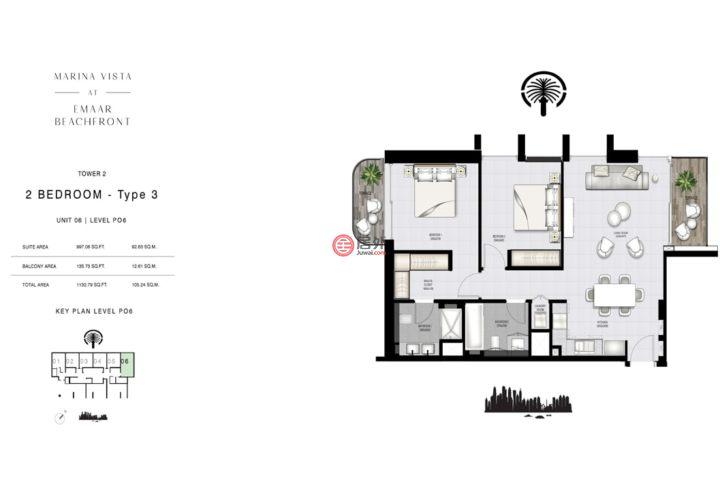 阿联酋迪拜迪拜的公寓,Marina vista,编号54982596